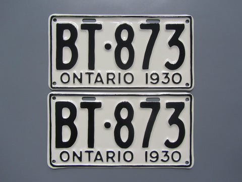 1930 YOM Clear Ontario License Plates