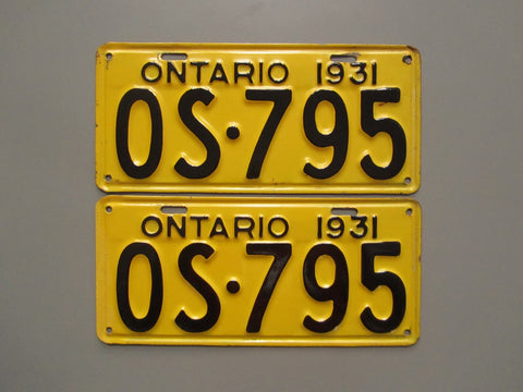 1931 YOM Clear Ontario License Plates
