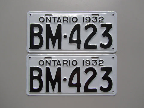 1932 YOM Clear Ontario License Plates