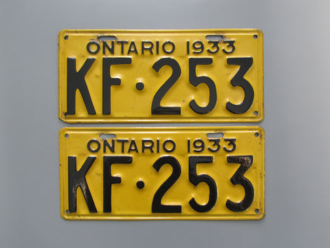 1933 YOM Clear Ontario License Plates