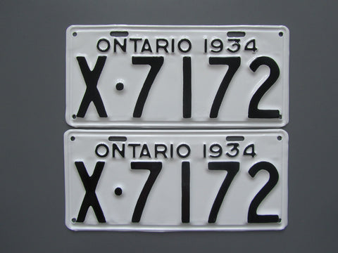 1934 YOM Clear Ontario License Plates