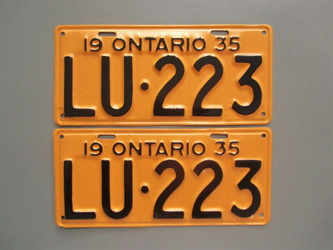 1935 YOM Clear Ontario License Plates