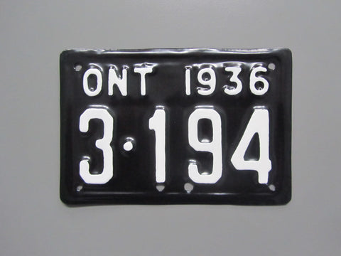 1936 YOM Clear Ontario Motorcycle License Plate