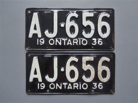 1936 YOM Clear Ontario License Plates