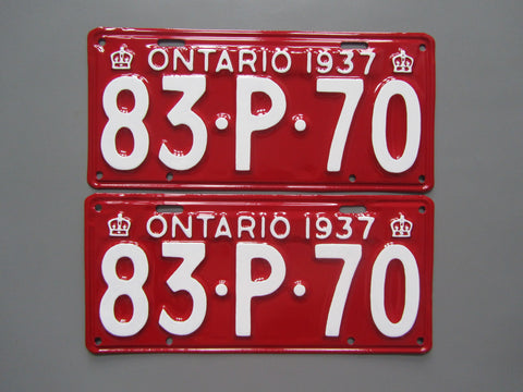1937 YOM Clear Ontario License Plates