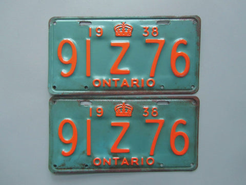 Copy of 1938 YOM Clear Ontario License Plates