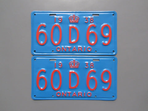 1938 YOM Clear Ontario License Plates