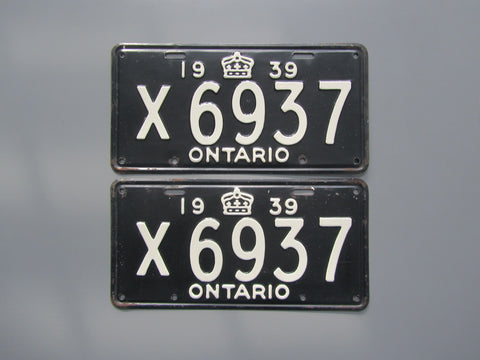 1939 YOM Clear Ontario License Plates