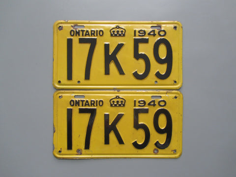 1940 YOM Clear Ontario License Plates