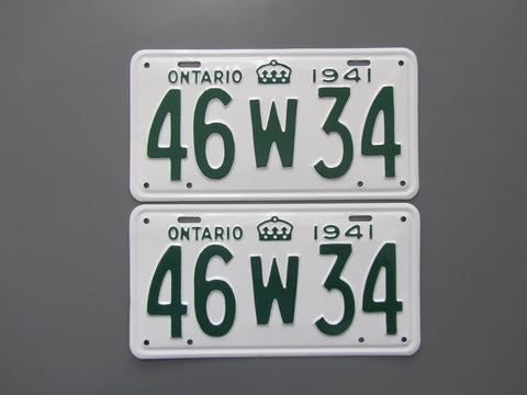 1941 YOM Clear Ontario License Plates