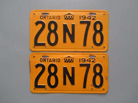1942 YOM Clear Ontario License Plates