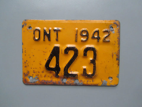 1942 YOM Clear Ontario Motorcycle License Plate
