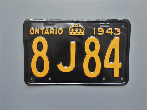 1943 YOM Clear Ontario License Plate
