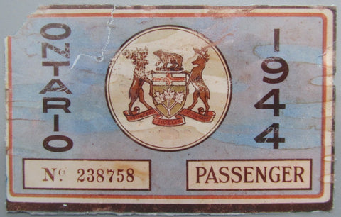 1944 YOM Clear Ontario License Plates
