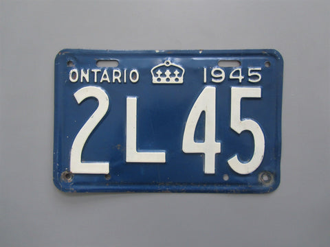 1945 YOM Clear Ontario License Plate