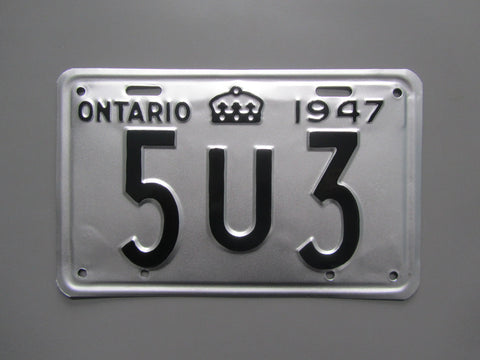 1947 YOM Clear Ontario License Plate
