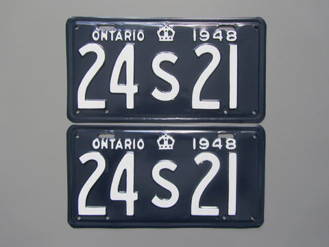 1948 YOM Clear Ontario License Plates