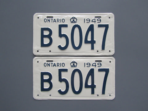 1949 YOM Clear Ontario License Plates