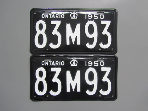 1950 YOM Clear Ontario License Plates