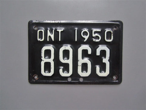 1950 YOM Clear Ontario Motorcycle License Plate