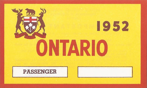1952 YOM Clear Ontario License Plates