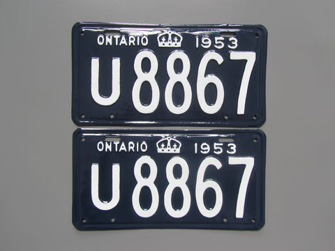 1953 YOM Clear Ontario License Plates