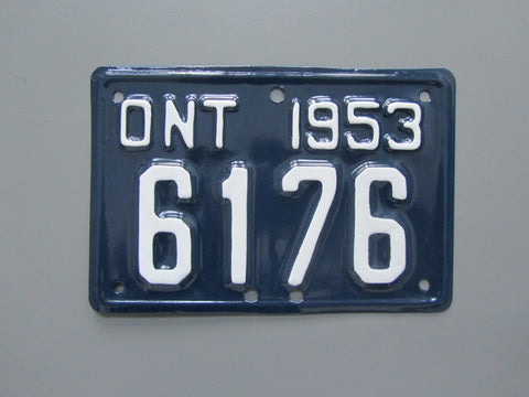 1953 YOM Clear Ontario Motorcycle License Plate