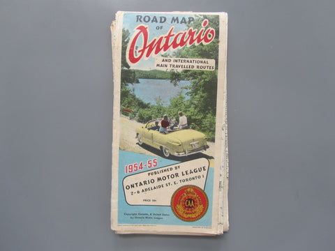 1954-1955 Ontario Road Map - OML