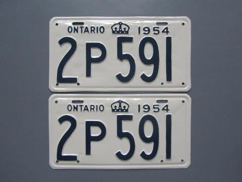 1954 YOM Clear Ontario License Plates