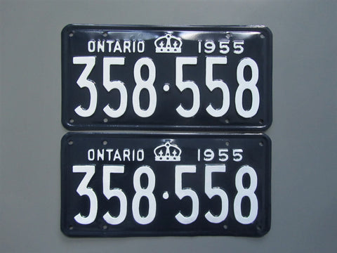 1955 YOM Clear Ontario License Plates