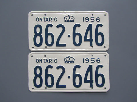 1956 YOM Clear Ontario License Plates