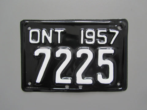 1957 YOM Clear Ontario Motorcycle License Plate