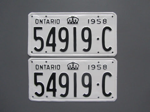 1958 YOM Clear Ontario License Plates