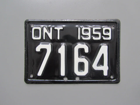 1959 YOM Clear Ontario Motorcycle License Plate