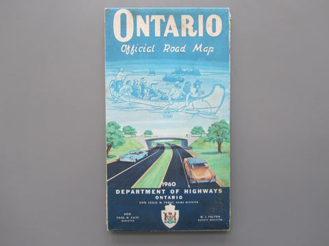 1960 Ontario Official Government Road Map