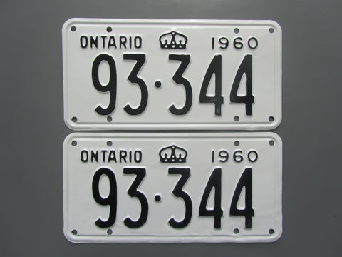 1960 YOM Clear Ontario License Plates