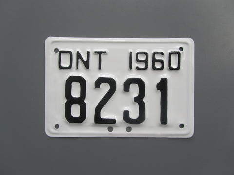 1960 YOM Clear Ontario Motorcycle License Plate