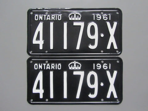 1961 YOM Clear Ontario License Plates