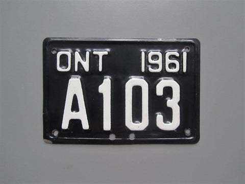 1961 YOM Clear Ontario Motorcycle License Plate