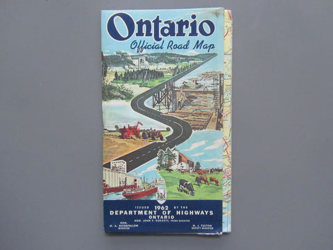1962 Ontario Official Government Road Map