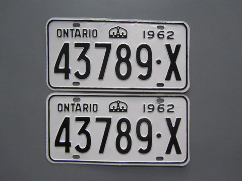 1962 YOM Clear Ontario License Plates