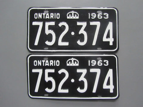 1963 YOM Clear Ontario License Plates