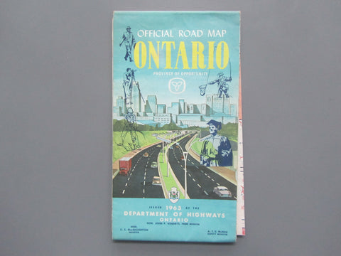 1963 Ontario Official Government Road Map