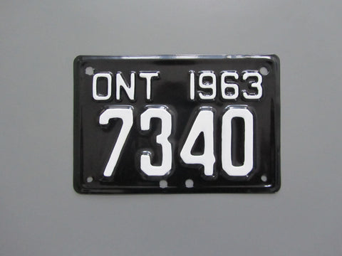 1963 YOM Clear Ontario Motorcycle License Plate