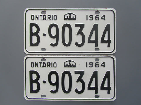 1964 YOM Clear Ontario License Plates