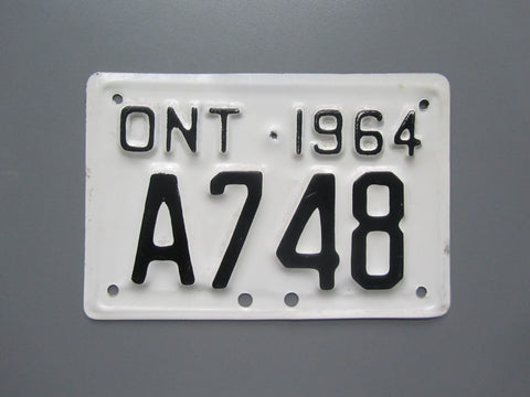 1964 YOM Clear Ontario Motorcycle License Plate