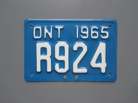 1965 YOM Clear Ontario Motorcycle License Plate
