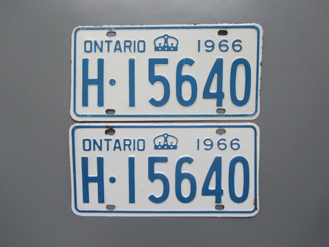 1966 YOM Clear Ontario License Plates