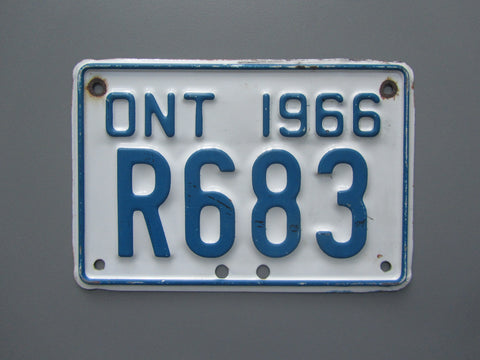 1966 YOM Clear Ontario Motorcycle License Plate