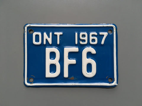 1967 YOM Clear Ontario Motorcycle License Plate